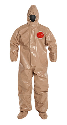 DuPont Tychem 5000 Coverall. Respirator Fit Hood. Elastic Wrists. Attached Socks with Outer Boot Flaps. Storm Flap with Adhesive Closure. Taped Seams. Tan