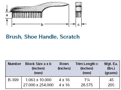 Ampco Non-Sparking, Non-Magnetic & Corrosion Resistant Safety Brush, Shoe Handle, Scratch