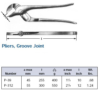 Ampco Non-Sparking, Non-Magnetic & Corrosion Resistant Safety Pliers, Groove Joint