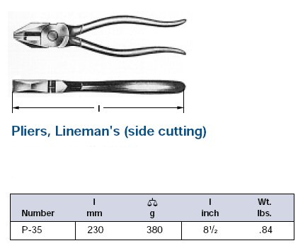 Ampco Non-Sparking, Non-Magnetic & Corrosion Resistant Safety Lineman's/Side Cutting Pliers