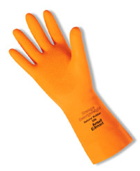 Ansell Orange Heavyweight Cotton Flock-Lined, Natural Rubber Latex