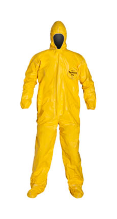 DuPont Tychem QC Coverall. Standard Fit Hood. Elastic Wrists. Attached Socks. Storm Flap with Adhesive Closure. Taped Seams. Yellow.