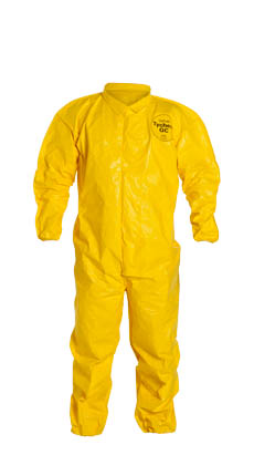 DuPont  Tychem QC Coverall. Collar. Elastic Wrists and Ankles. Storm Flap with Adhesive Closure. Bound Seams. Yellow.