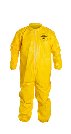 DuPont Tychem QC Coverall. Collar. Elastic Wrists and Ankles. Serged Seams. Yellow.