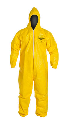 DuPont Tychem QC Coverall. Standard Fit Hood. Elastic Wrists and Ankles. Serged Seams. Yellow.