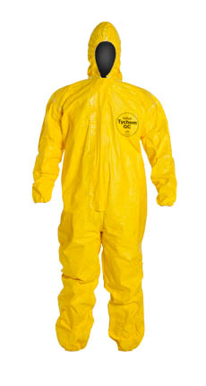 DuPont Tychem QC Coverall. Standard Fit Hood. Elastic Wrists and Ankles. Storm Flap with Adhesive Closure. Taped Seams. Yellow.