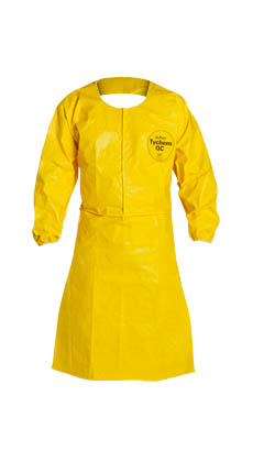 "DuPont Tychem QC Sleeved Apron. Elastic Wrists. 44"" Long. Neck Loop w/ Snaps & Waist Ties. Bound Seams. Yellow."