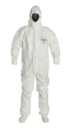 DuPont Tychem SL Coverall. Respirator Fit Hood. Elastic Wrists. Attached Socks with Outer Boot Flaps. Storm Flap with Adhesive Closure. Taped Seams. White.